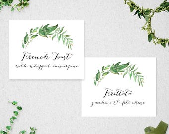 Greenery Food Labels // Editable // Printable // INSTANT DOWNLOAD // Wedding // Party // Bridal Shower //  Baby Shower // #PBP86