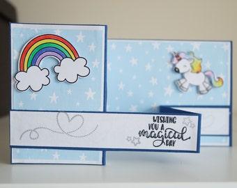 Unicorn and rainbow card
