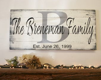 Custom Wood Sign Family Name Sign Wedding Gift Bridal Shower Gift Housewarming Gift Shabby Chic Wall Decor Home Decor Distressed Wood
