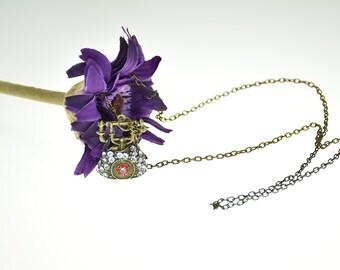 SALE! Vintage Retro Crystal Phone Pendant Necklace