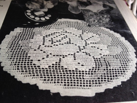 Rose osummer doily vintage filet crochet pattern pdf dt1010fo