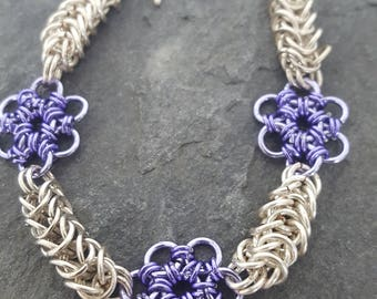 Japanese Flower Chainmail Bracelet.Box Weave Chainmail. Bracelet. Purple Flower.