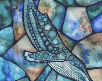 HUMPBACK Whale 5 x 7 print of detailed watercolour salt artwork turquoise blue sea teal green ocean bubbles killer orca grey whale deep