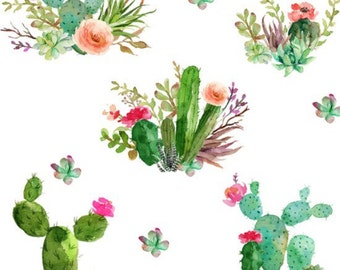 Cactus Crib Sheet // Cactus Crib Skirt // Cactus Boppy Cover // Watercolor Cactus Changing Pad Cover