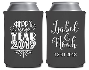 Neoprene Collapsible Can Cooler Custom Beverage Insulator Personalized New Years Eve Wedding Favors | Happy New Year (1A) | READ DESCRIPTION