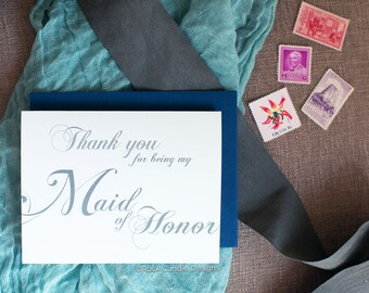 Thank You For Being My Maid of Honor Card | Wedding Day Stationery | Card for Maid of Honor | Cute Way to Thank Maid of Honor | Wedding Note