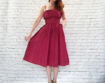 Vintage 80s Does 50s Gunne Sax Ruby Taffeta Ruffled Shelf Bust Midi Dress S M