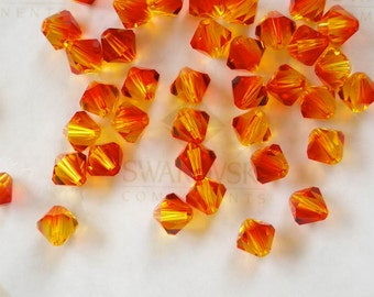 20 Fire Opal Swarovski Crystals Bicone 5328 6mm
