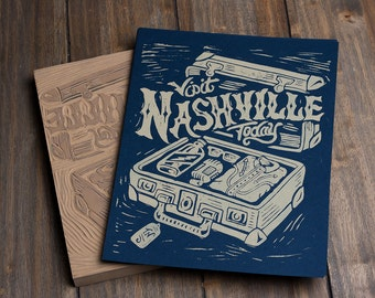 Visit Nashville Today - Block Print