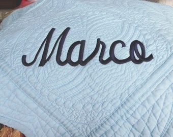 Baby Cotton Quilt - Blue Cotton Quilt - Personalized / Monogrammed / Embroidered Baby Quilt