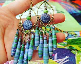 Field of Flowers Nature Book Paper Bead Chandelier Earrings