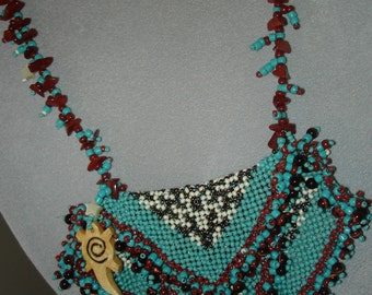 Red Jasper and turquoise blue Amulet Bag