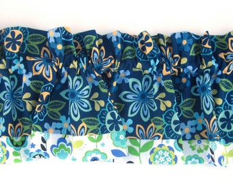 FLORA Valance Curtains Blue White Flowers 43 inches wide