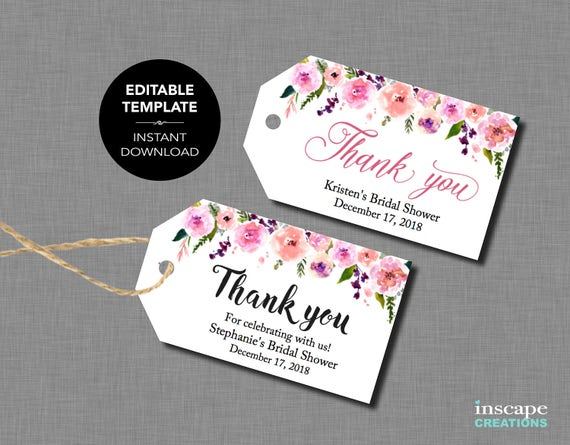 editable favor tags editable bridal shower favor tags
