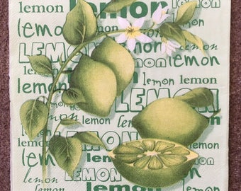 PN-236. Lemon Paper Napkins for Decoupage Fruit Napkins for Art Luxury Napkins Design Napkins Wedding Birthday DECOUPAGE SERVIETTE