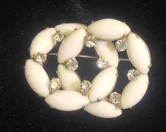 SALE!! Double Ring Milk Glass and Rhinestone Brooch (was 14.00)