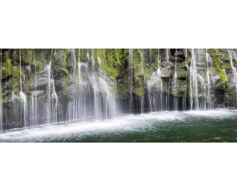 California Waterfall Landscape 1:3 Wide Panoramic Photography Print - Mossbrae Falls Spring - 8x24 12x36 16x48 20x60