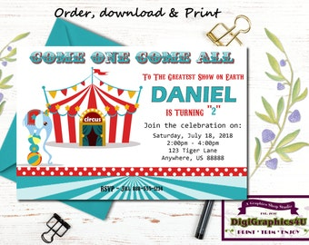 Circus Greatest Show on Earth Carnival Birthday Invitation for Kids - Personalized Printable File