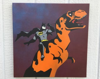 Batman and Steed / 18x18 / Spraypaint on Canvas Pop Art Painting