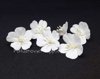 3 pcs. or more apple flowers, cherry blossom, polymer clay flower bead