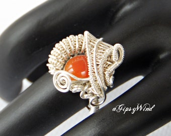 Artisan handmade Carnelian Paisley Wire Wrapped Ring - Heady