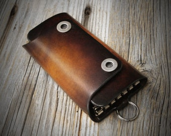 Leather Keychain with hooks, Leather Keyring, Leather Key Holder, Gift for Her/Him
