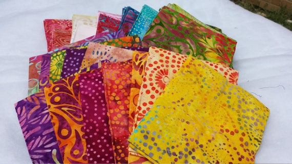 Batik Fat Quarters from Moda's Wild Waves Collection. 40 Pieces of Quilt Fabric In Rainbow Bright Patterns of Dots, Swirls, Leaves, Paisely