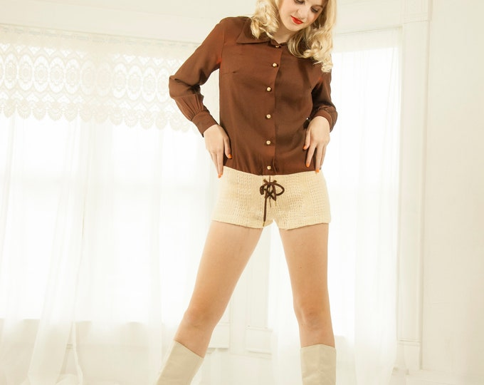 Vintage brown hot-pants romper, long sleeve, ivory white wool knit shorts playsuit one-piece outfit, XS 1970s boho retro