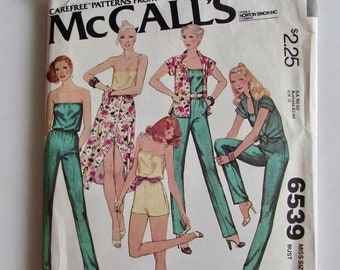 Woman's Romper, Shorts or Jumpsuit, Strapless, Spaghetti Strap, Skirt  McCall's Vintage 6539- Uncut