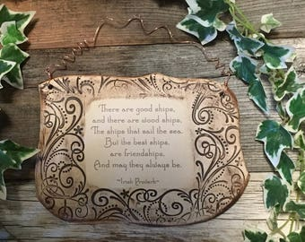 Handmade Irish Proverb Friendship Ceramic Plaque