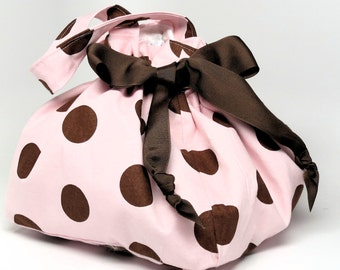 Choice of Size - Pink with Brown Polka Dots - Plum Creek Project Bag (P-001)
