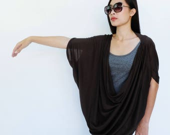 NO.60 Charcoal Cotton-Blend Jersey Origami Top, Asymmetrical T-Shirt
