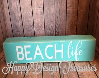 Beach Life Wood Sign, Beach sign, Beach wood block, Beach Life Block, Beach Decor