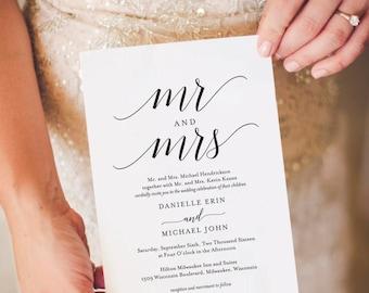 Wedding Invitation Template, Wedding Invitation Printable, Wedding Invite, Editable Invitation, Calligraphy, PDF Instant Download #BPB310_1B