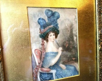 Antique Victorian Print And Plaster Frame Pretty Woman With Large Blue Feather Hat Blues Gold Mat Gibson Girl Picture Shabby Chic Distressed