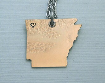 Arkansas Necklace - Red Brass State Necklace - I love Arkansas - I love Fayetteville - I love Little Rock
