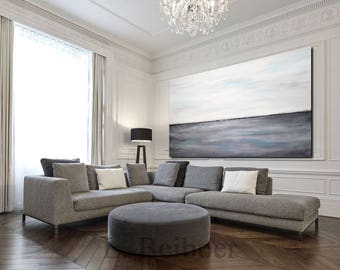 Large original abstract landscape painting panoramic art seascape gray blue white modern oil painting home decor fine art by L.Beiboer