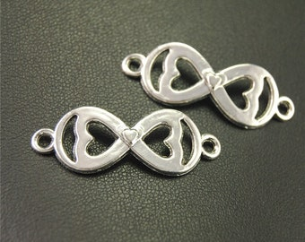 """30pcs Antique Silver Infinity """"8"""" connector heart Charms Pendant A1908"""