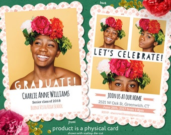 Printed Photo Graduation Cards, Editable Text, Confetti, Girl Grad, Boy Grad, Envelopes Included, Graduation Cards, Grad Cards, Painted
