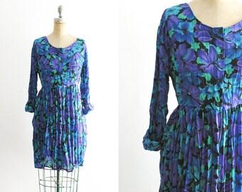 Vintage 1990s 90s Floral Dress Blue Floral Dress Purple Floral Dress Blue Hawaiian Dress Purple Hawaiian Dress 90s Flower Dress Large