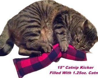 """NEW - 15 in. (Flannel) Catnip Kitty Kicker Toys  """"With No Catnip Pocket"""" / Kicker Filled with 1.25oz. Premium Canadian Catnip"""