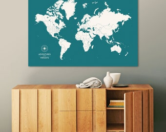 Push Pin Travel Map, World Map Push Pin, Pin Map, Custom Map, World Travel Map, World Map Canvas, Push Pin Map, Large World Map, Travel Map