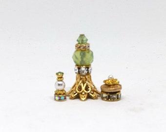 Miniature Perfume Bottle Set/Miniature Vanity Set/Miniature Jars/Miniature Crystal/Dollhouse Perfume Bottles/Perfume Bottle/OOAK