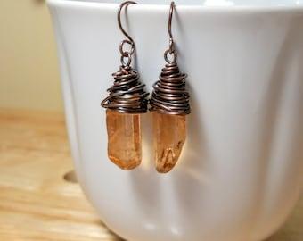 Peach Quartz Crystal Earrings, Copper Earrings, Quartz Point Earrings, Boho Quartz Earrings, Mystic Quartz Jewelry, Crystal Earrings