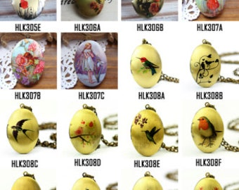 1pcs Photo Locket Necklace,  Oval Locket Charm - All Images Preview Part One
