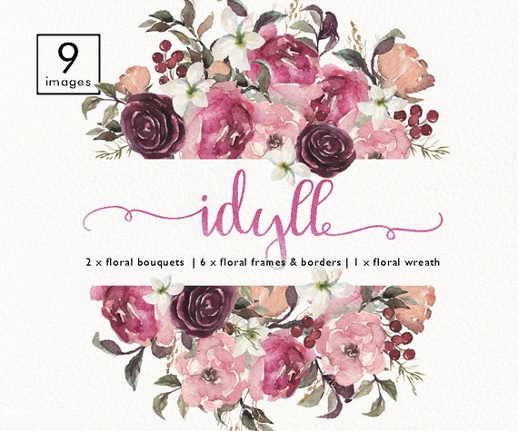 Watercolor Floral Frame Bouquet Border Header Wreath Set Clip Art Wedding Invitation Boho Burgundy Flower Collection Individual PNG DIY