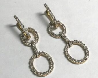 14 K Yellow Gold Pierced 1.00 CTW Diamond Earrings