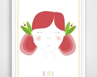 Personalized Children's Wall Art / Nursery Decor Little Red Head Girl Portrait with Custom Name  print by Finny and Zook