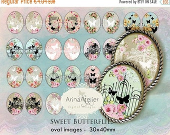 SALE - 40% OFF Sweet Butterflies OVALS 30x40mm - Oval images - Digital Collage Sheet - Pendants, Topcakes, Jewllery Maker, Craft Printable,