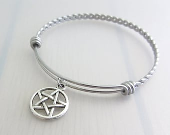 Pentagram Charm Stainless Steel Bangle, Silver Pentagram Bracelet, Pagan Bangle, Stackable Bracelet, Wiccan Bangle, Witches Gift, Pagan Gift